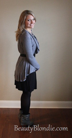Black Dress with Long Grey Sweater, Black Belt and Grey Boots 2