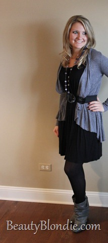 Black Dress with Long Grey Sweater, Black Belt and Grey Boots