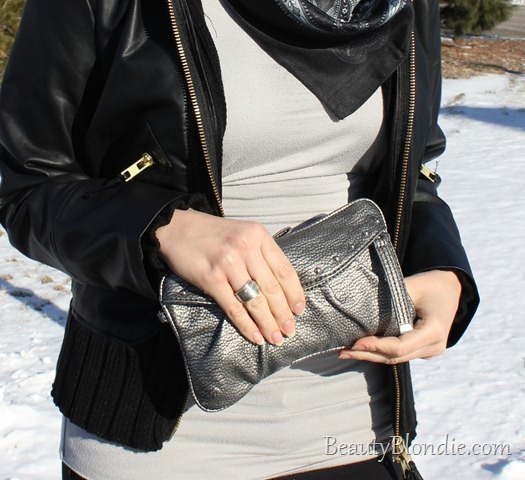 Black Leather Coat, and Black and Grey Scarf with a Grey Hand Bag