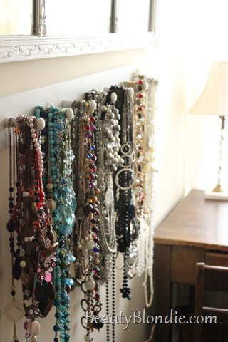 How to Organize A Lot of Colorful Necklaces. Red, Teal, Blue, Silver, Grey, Glod, Black and White with a Mirror and a Desk